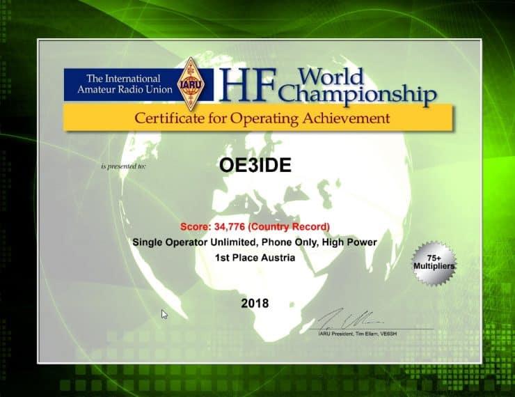 #1 Austria: IARU HF World-Championship 2018